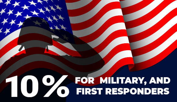 10% for Military, and First Responders.